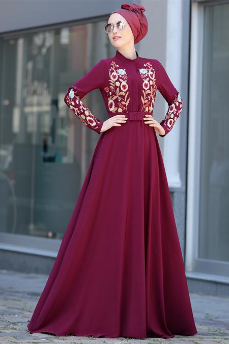 Selma Sarı Design Mürdüm Mila Elbise