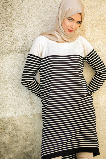 Seyhan Fashion Bej Siyah Triko Tunik