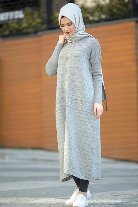 Seyhan Fashion Gri Triko Hırka
