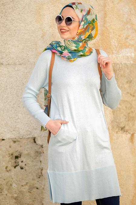 Seyhan Fashion Mavi Triko Tunik