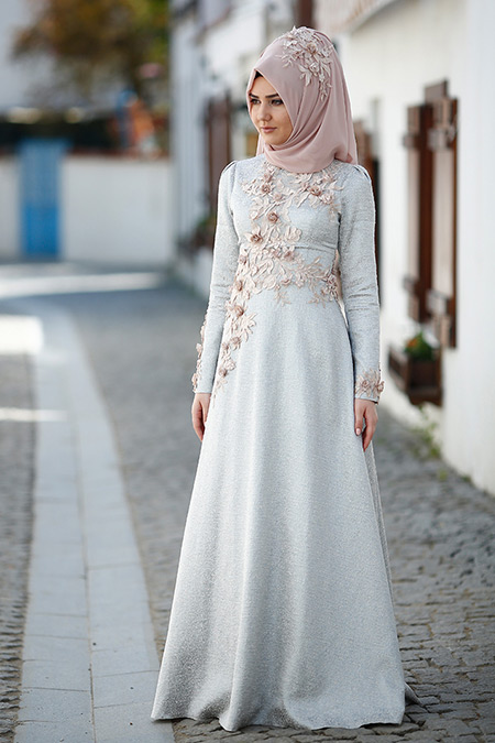 SomFashion Buz Mavi Hayal Brokar Abiye Elbise