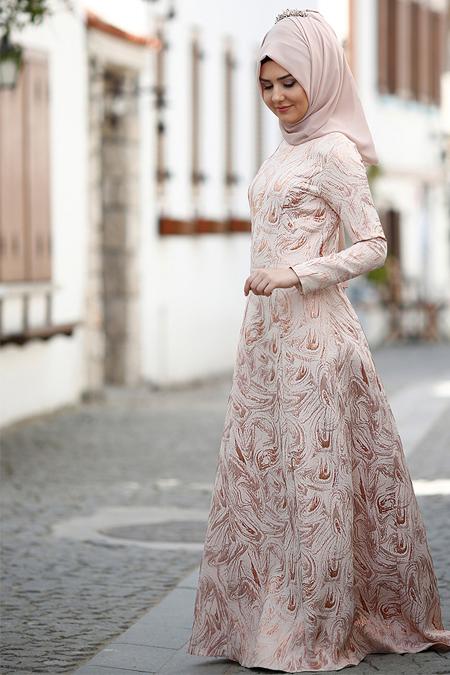 SomFashion Ekru Hale Abiye Elbise
