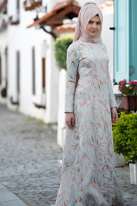 SomFashion Mavi Hale Abiye Elbise