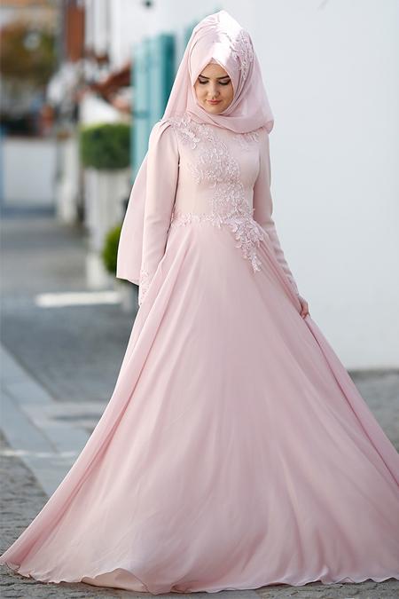 SomFashion Pudra Leylak Abiye Elbise