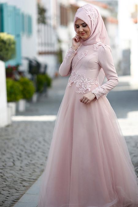 SomFashion Pudra Violet Abiye Elbise