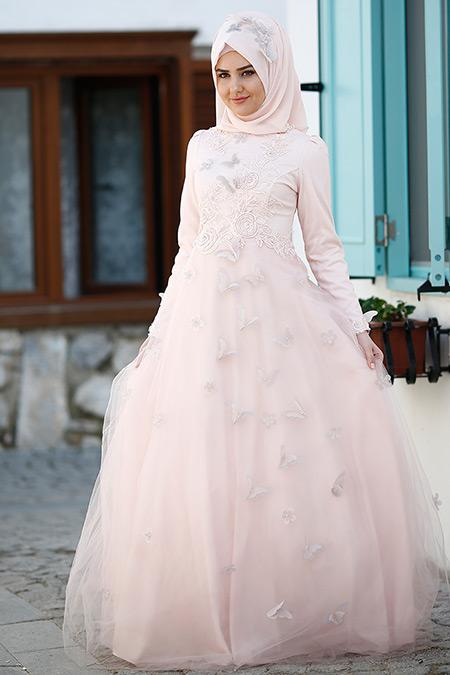 SomFashion Pudra Yasemin Abiye Elbise
