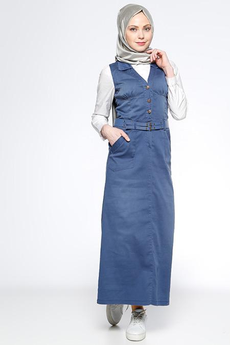 Timin Mavi Kolsuz Kot Elbise