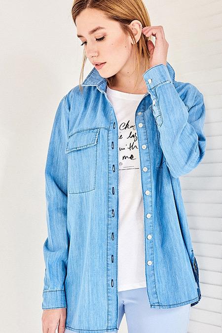 Vavist Açık Mavi Uzun Kol Gömlek
