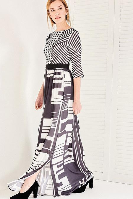 Vavist Siyah Beyaz Desenli Maxi Elbise