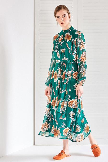 Vavist Yeşil Turuncu Desenli Midi Elbise
