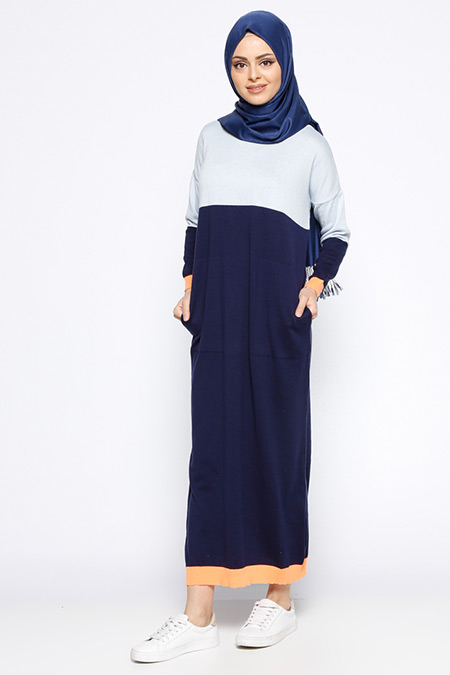 Zentoni Mavi Lacivert Mevsimlik Elbise