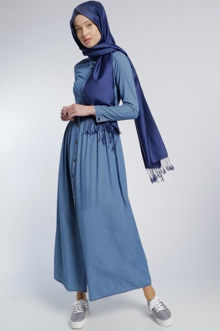 Benin Mavi Naturel Kumaş Kot Elbise
