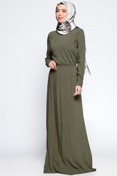 Appleline Haki Beli Lastikli Elbise