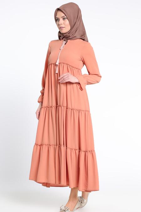 Beha Tesettür Açık Turuncu Fırfırlı Elbise