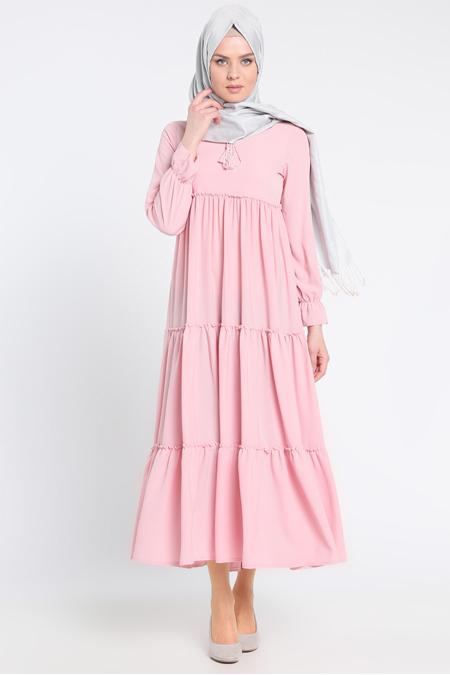 Beha Tesettür Pudra Fırfırlı Elbise