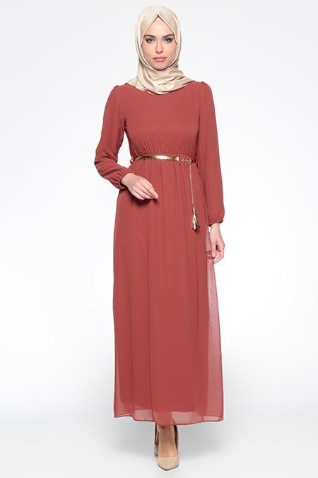 Belle Belemir Kiremit Kemerli Elbise