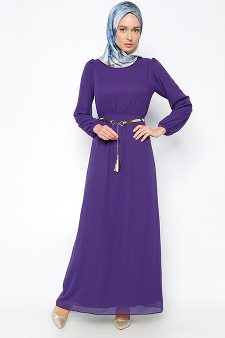 Belle Belemir Mor Kemerli Elbise