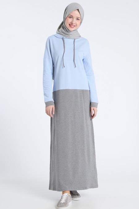 Benin Açık Mavi Gri Garnili Elbise