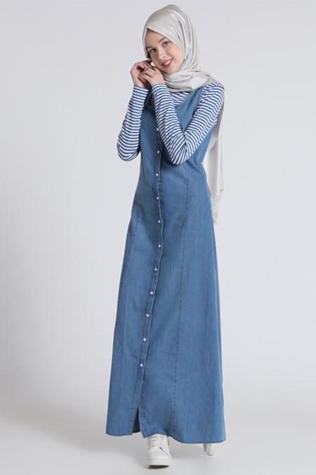 Benin Mavi Naturel Kumaşlı Kolsuz Kot Elbise