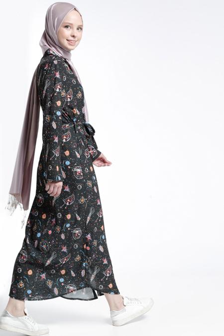Benin Siyah Boydan Düğmeli Desenli Elbise