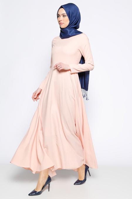 Bislife Pudra Kloş Etekli Elbise