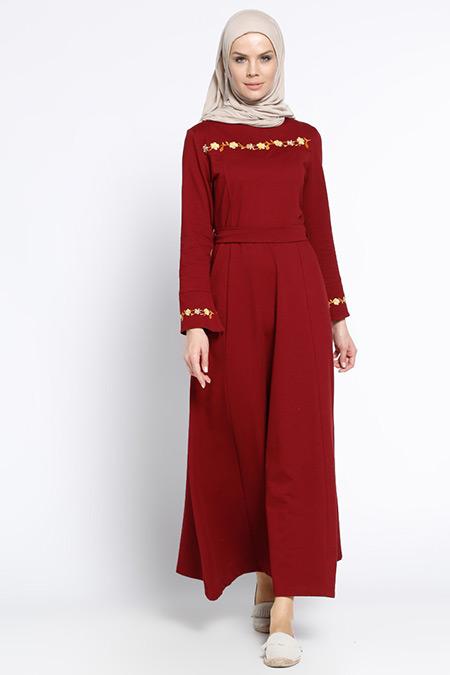 Bwest Bordo Nakış Detaylı Elbise