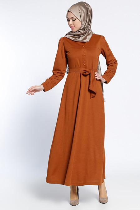 Bwest Camel Düğme Detaylı Elbise