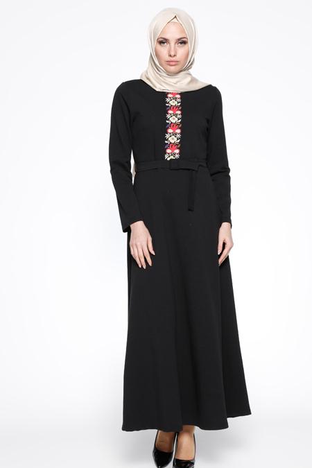 Bwest Siyah Nakış Detaylı Elbise