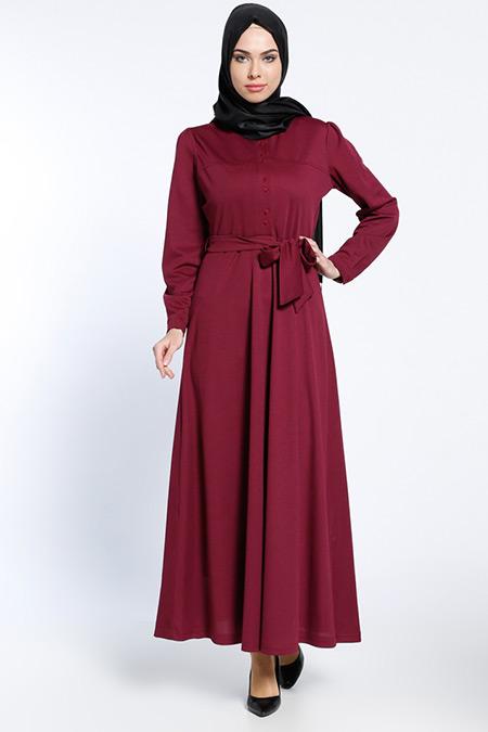 Bwest Vişne Düğme Detaylı Elbise