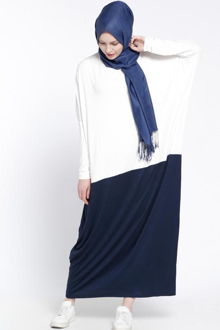 Everyday Basic Beyaz Lacivert Garnili Elbise