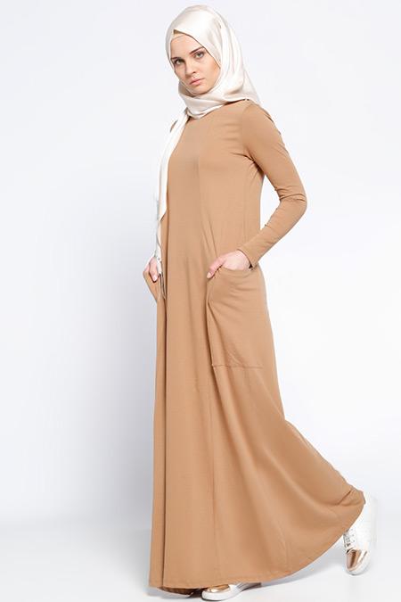 Everyday Basic Camel Natürel Kumaşlı Cepli Elbise