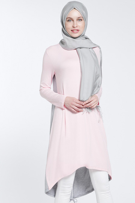 Everyday Basic Gri Açık Pembe Garnili Tunik