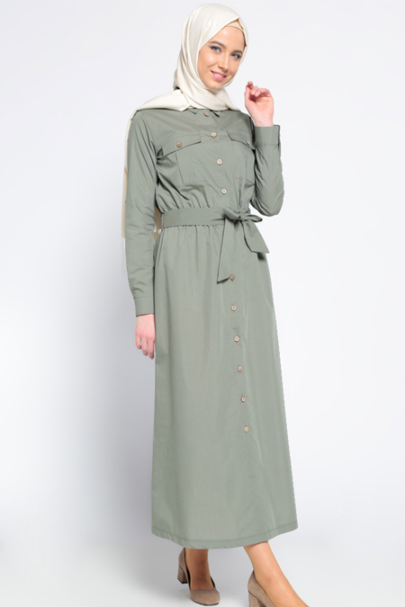 Everyday Basic Haki Beli Lastikli Elbise