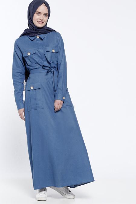Everyday Basic İndigo Gizli Düğme Detaylı Elbise