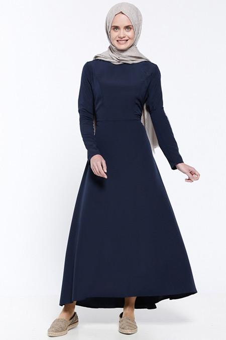 Everyday Basic Lacivert Düz Renk Elbise