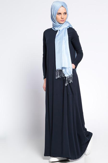 Everyday Basic Lacivert Natürel Kumaşlı Cepli Elbise