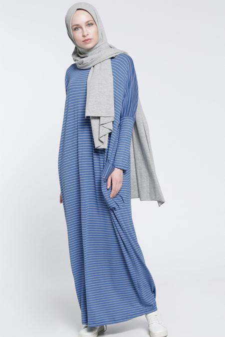 Everyday Basic Mavi Çizgili Salaş Elbise