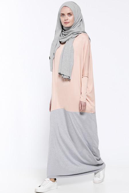 Everyday Basic Somon Gri Garnili Elbise