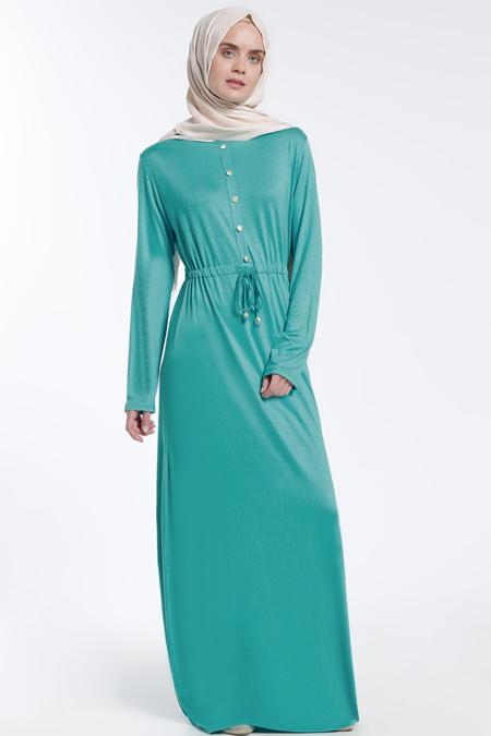 Everyday Basic Yeşil Düğme Detaylı Elbise