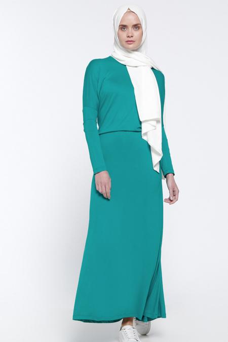 Everyday Basic Yeşil Yarasa Kollu Elbise