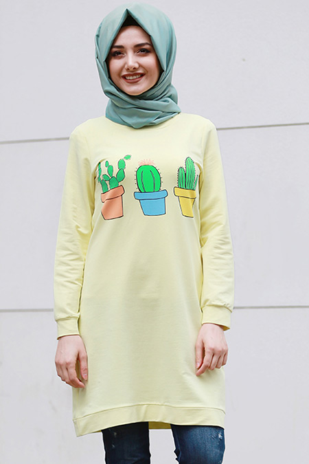 Gamze Özkul Sarı Kaktüs Desenli Tunik
