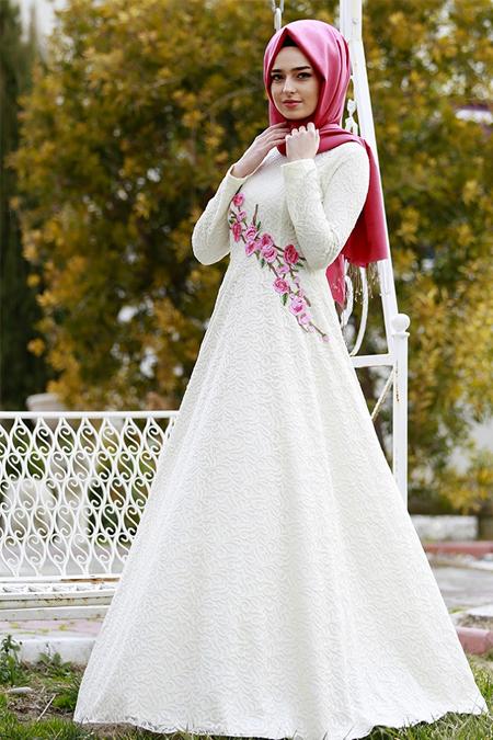 Gamze Özkul Ekru Nakış Detaylı Elbise