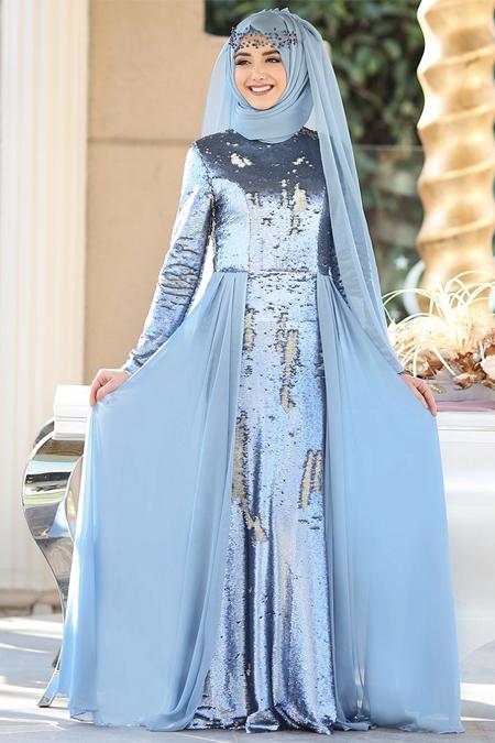 Gamze Özkul Mavi Almira Abiye Elbise