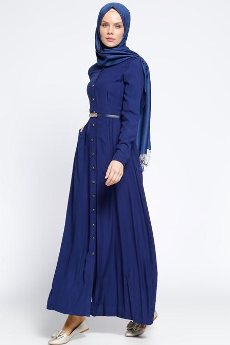 Ginezza Lacivert Boydan Düğmeli Kemerli Elbise