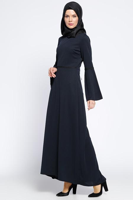 Ginezza Lacivert Güpür Süslemeli Elbise
