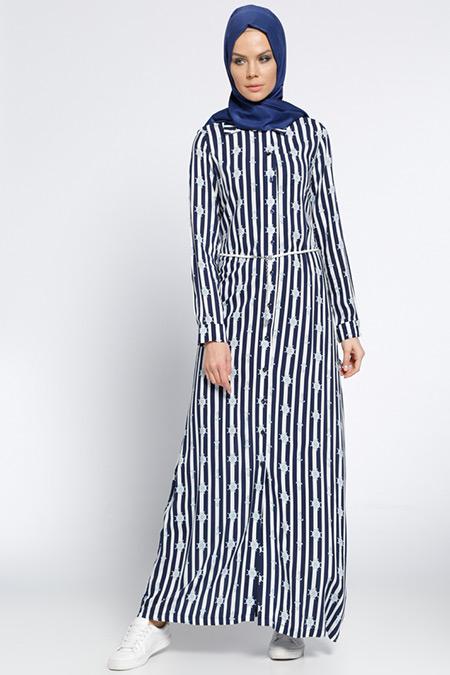 Ginezza Lacivert Mavi Düğmeli Elbise