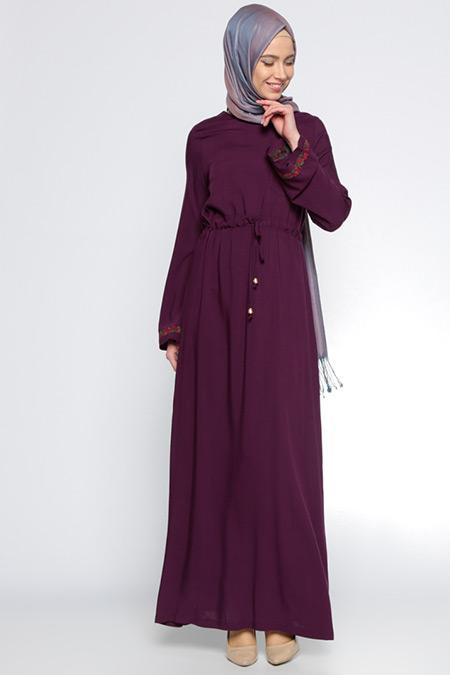 Ginezza Mürdüm Nakış Detaylı Elbise