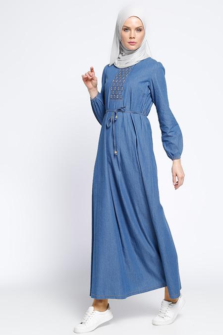 Ginezza Mavi Drop Baskılı Kot Elbise