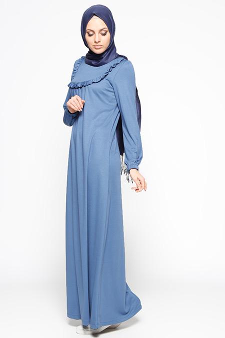 Ginezza Mavi Fırfır Detaylı Elbise