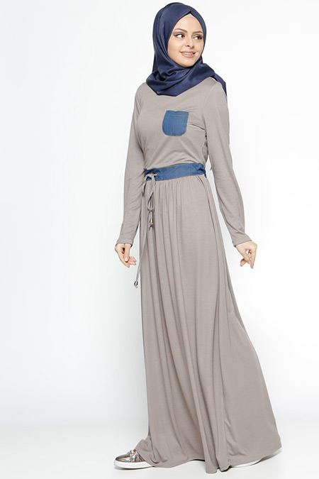 Ginezza Vizon Beli Bağcıklı Elbise